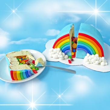 עוגת קשת בענן עם הפתעה
