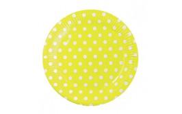 מארז 20 צלחות צהוב נקודות