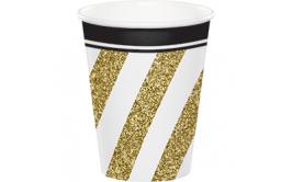 מארז כוסות שתייה קרה/חמה שחור זהב אלגנט