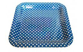 מגש מרובע פלסטיק קשיח כחול נקודות