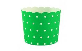 מארז 50 גביעי קאפקייקס ירוק נקודות