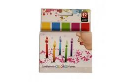 סט 12 נרות להבה צבעונית - להיט