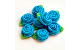 סט ורדים כחולים מבצק סוכר