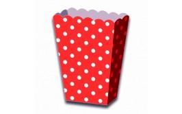 מארז 6 קופסאות פופקורן נקודות אדום