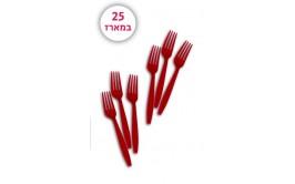 מארז 25 מזלגות צבע אדום