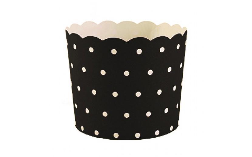 מארז 50 גביעי קאפקייקס שחור נקודות