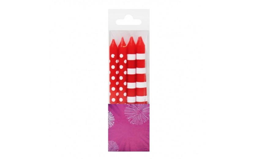 מארז 12 נרות פסים נקודות עם בסיסים צבע אדום