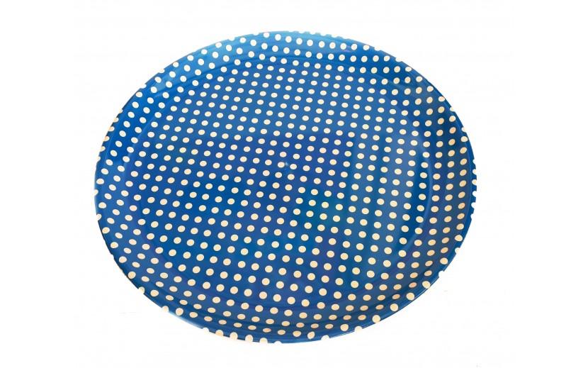 מגש עגול פלסטיק קשיח כחול נקודות