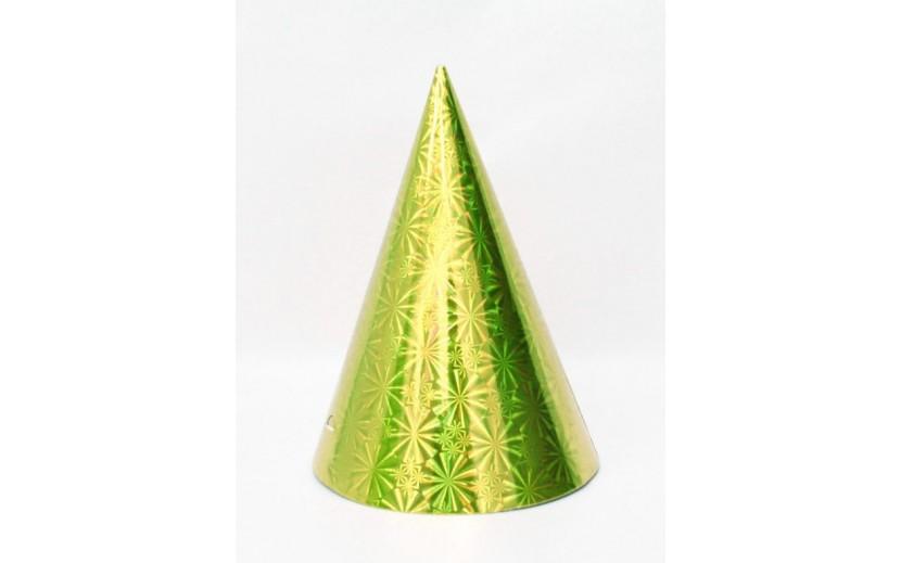 """מארז 12 כובעי קונוס גובה 20 ס""""מ צבע זהב"""