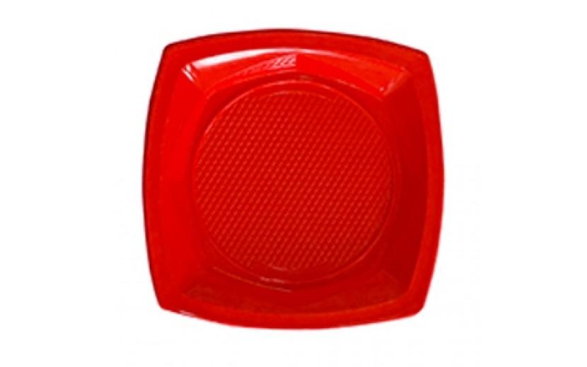 """סט 20 צלחות מרובעות 23"""" צבע אדום"""