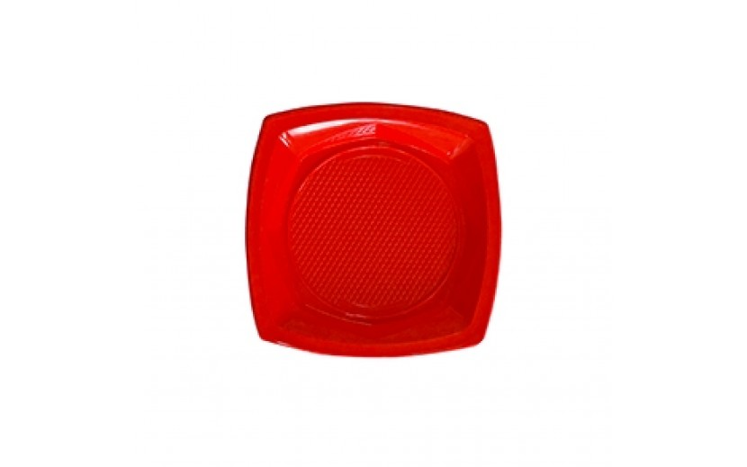 """סט 20 צלחות מרובעות  18"""" צבע אדום"""