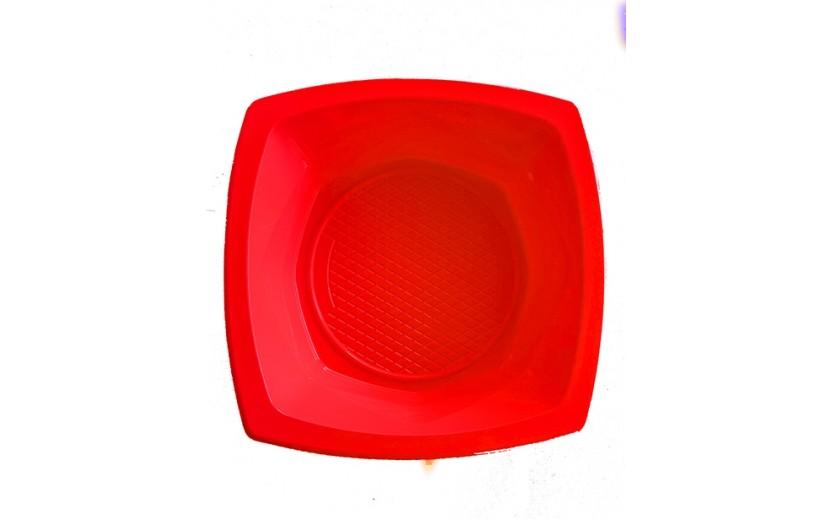 מארז 20 קעריות פלסטיק מרובע  אדום
