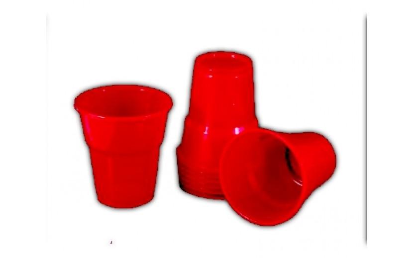 מארז 40 כוסות פלסטיק איכותי צבע אדום
