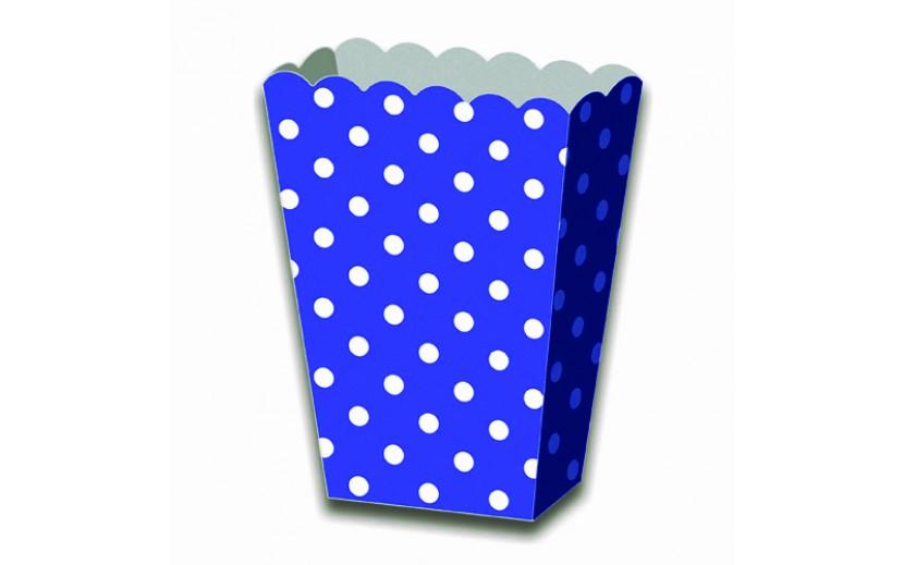 מארז 6 קופסאות פופקורן נקודות כחול