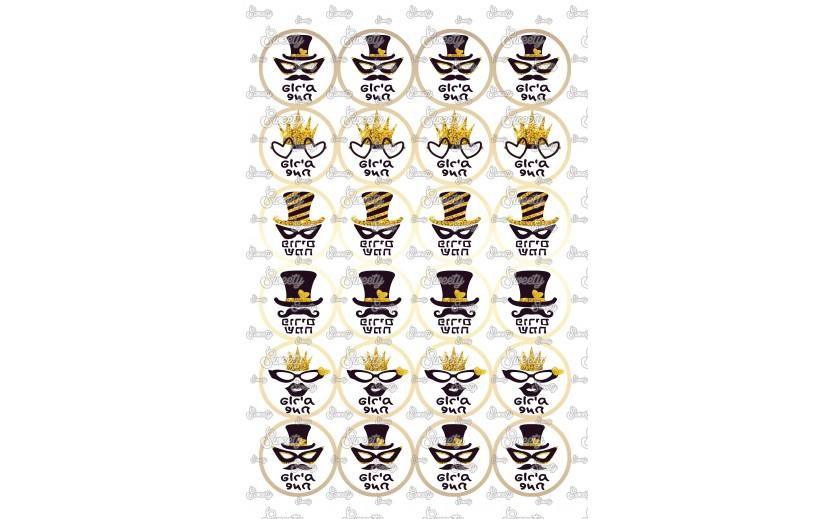 שקף טרנספר פורימי שחור זהב מתאים לשבלונת עיגולים אוריאו 69