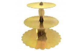 מעמד לקאפקייקס 3 קומות זהב חזק במיוחד