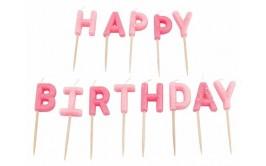 HAPPY BIRTHDAY מארז נרות גווני ורוד גליטר מרהיב