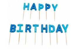 HAPPY BIRTHDAY מארז נרות גווני כחול גליטר מרהיב