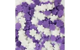 סוכריות לעוגה פרחים סגול לבן