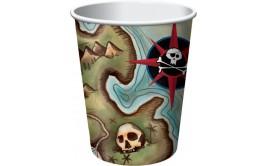 סט כוסות פיראטים דגם מפת האוצר