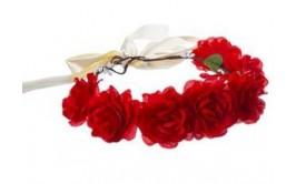 זר לראש מפואר 7 ורדים צבע אדום