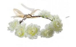 זר לראש מפואר 7 ורדים צבע לבן