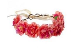 זר לראש מפואר 7 ורדים צבע ורוד