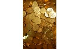 מארז 1/2 קילו מטבעות שוקולד חלב מוזהב