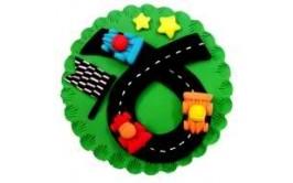 משטח מעוצב מבצק סוכר מרוץ מכוניות גדול להנחה על עוגה