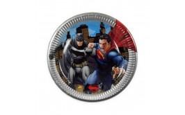 """מארז צלחות דגם סופרמן ובטמן 23 ס""""מ"""