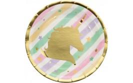 צלחות קטנות חד קרן מהודר זהב פסטל