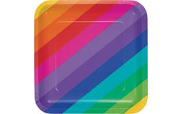 צלחות מרובעות גדולות צבעי הקשת