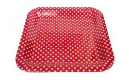 מגש מרובע פלסטיק קשיח אדום נקודות