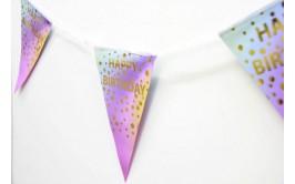 שרשרת דיגלונים יום הולדת שמח נקודות זהב ורוד