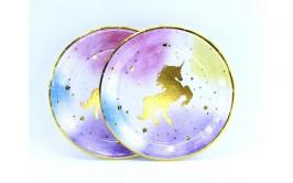 צלחות חד קרן קטנות פסטל זהב מרהיב