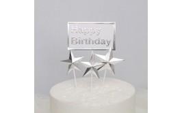 טופר 4 יחידות כוכבים כסף ורוד + שלט יום הולדת