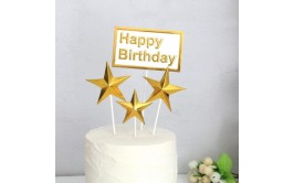 טופר 4 יחידות כוכבים זהב + שלט יום הולדת
