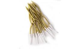 מארז נרות מסולסלים צבע זהב