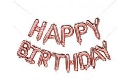 מארז בלונים לניפוח עצמי צבע רוז גולד happy birthday