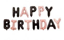 מארז בלונים לניפוח עצמי שחור רוז גולד happy birthday
