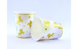 כוסות חד קרן פסטל זהב מרהיב