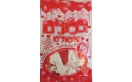 מארז 10 בלוני גומי איכותיים הדפס אלף נשיקות אדום לבן