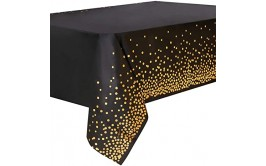 מפת שולחן שחורה קונפטי זהב