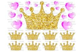 טרנספר טופר כתר זהב לבבות ורודים 519