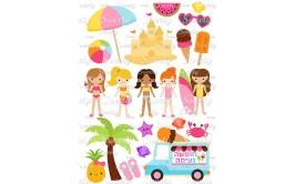 טרנספר לעוגה דגם מסיבת קיץ בנות  180