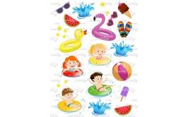 טרנספר לעוגה דגם מסיבת קיץ ילדים  181