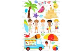 טרנספר לעוגה דגם מסיבת קיץ בנים 183