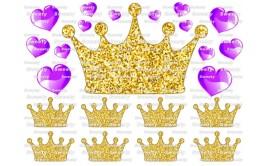 טרנספר טופר כתר זהב לבבות סגולים 520