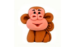 קוף תלת מימד מתוק עשוי בצק סוכר לקישוט העוגה