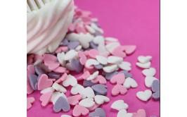סוכריות לב ורוד ,סגול לבן מרהיבות לקישוט העוגה